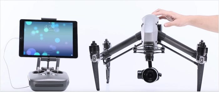 Power on the DJI Inspire 2, Remote Control and Mobile Device