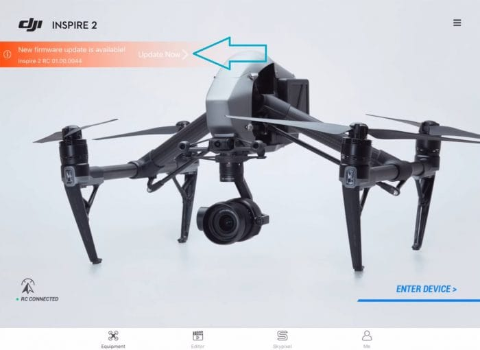 Select the RC Firmware Update Option