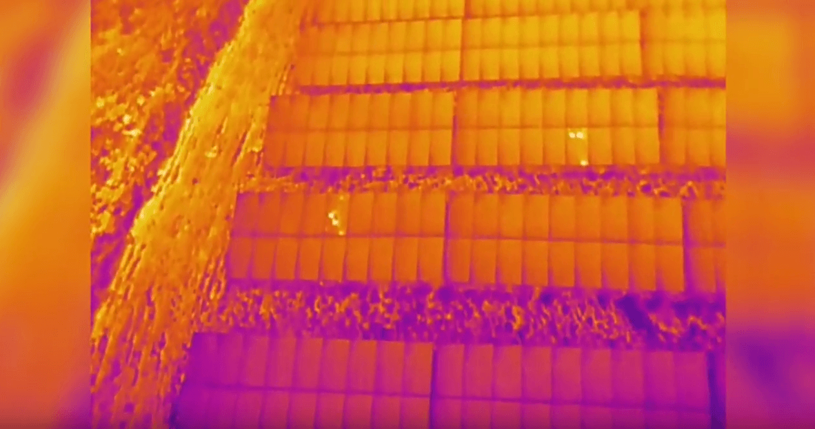 A thermal inspection using a drone.