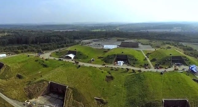 An aerial shot of the Star Wars film set, where drones are being used.