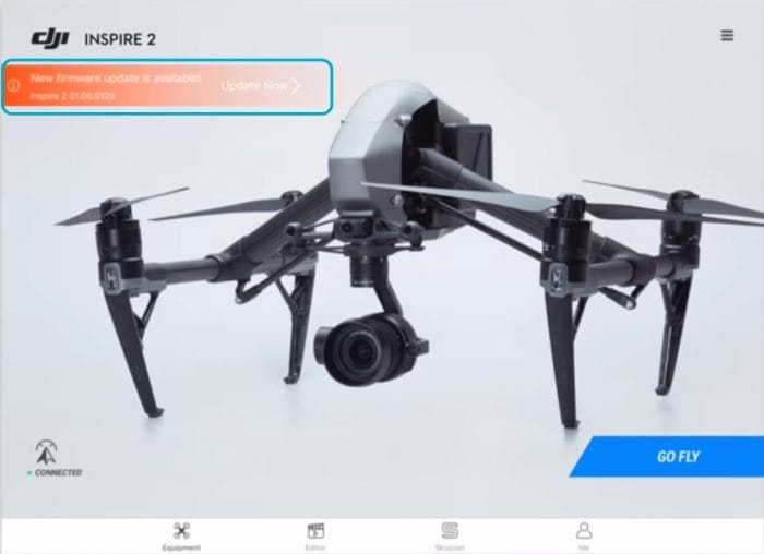 Tap Update Firmware for Inspire 2