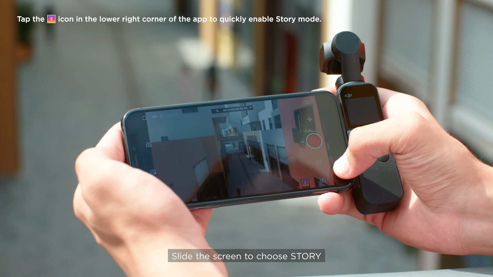 slide to story mode using dji mimo app