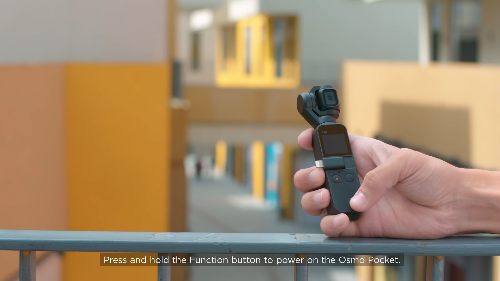 DJI osmo pocket in hand using story mode