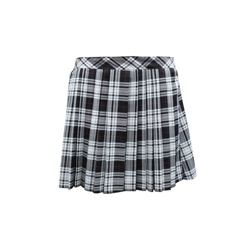 Women Black White 16 Inches Tartan Skirt Pleated Elastic Back School Skirts