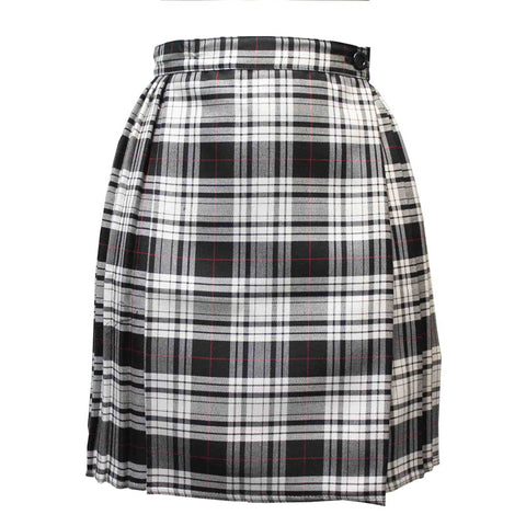 Women Black Wrap Over 18 Inches Tartan Skirt Pleated Check School Skirts