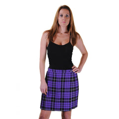 Women Purple Wrap Over Tartan Skirt Pleated Check Casual Plaid Party Skirts Fancy Dress