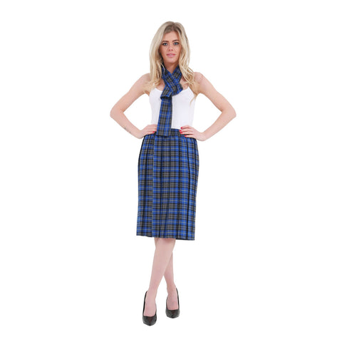 Women Blue Box 26 Inches Plated Tartan School Skirt Skirt