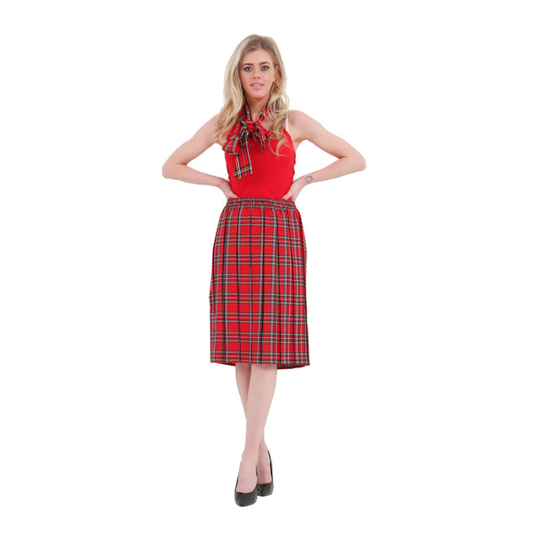 Women Red Box Tartan Plated Skirt Pleated Check Casual Plaid Party Skirts Fancy Dress