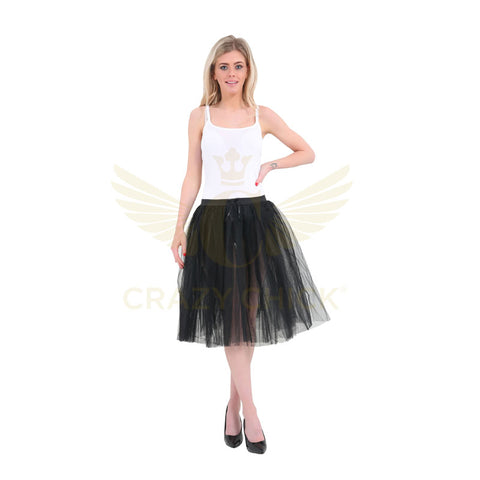 Women 3 Layers Black 25 Inches Long TuTu Skirt Fancy Dress