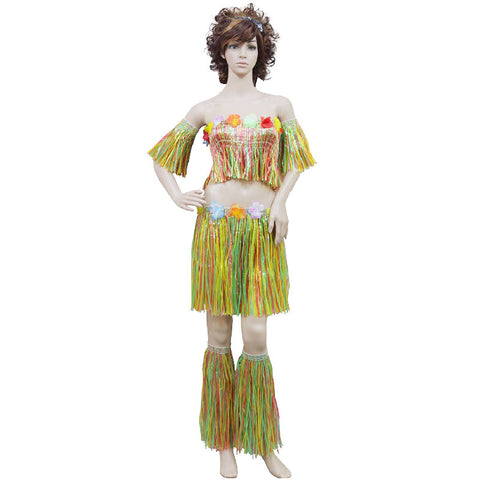 Adult 5 Pcs Multi Coloured Hula Set With Flowers Hawaiian Beach Party Dress