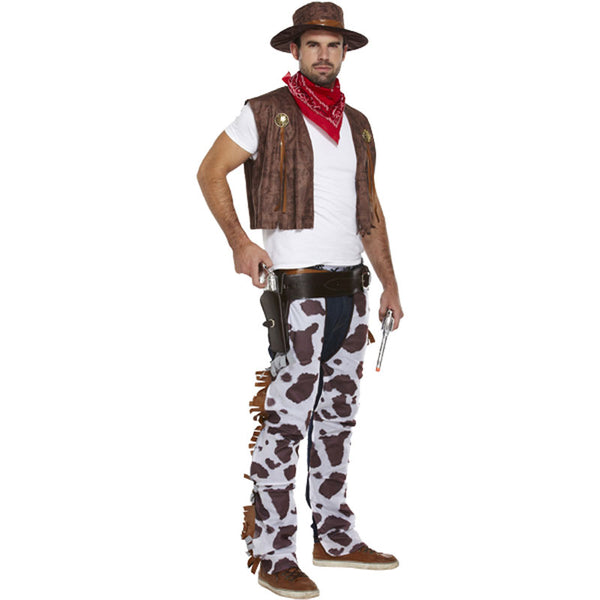 Men's Brown Western Cowboy Fancy Dress Costume