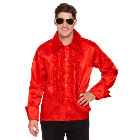 Adult 1960's Red Disco Shirt With Gold Rockstar Dark Lens Glasses