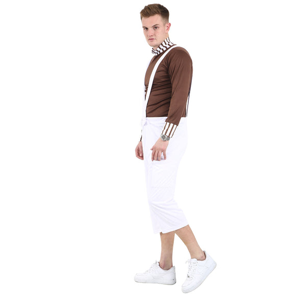 Mens Boys Chocolate Factory Worker Costume Book Week Film Character Fancy Dress