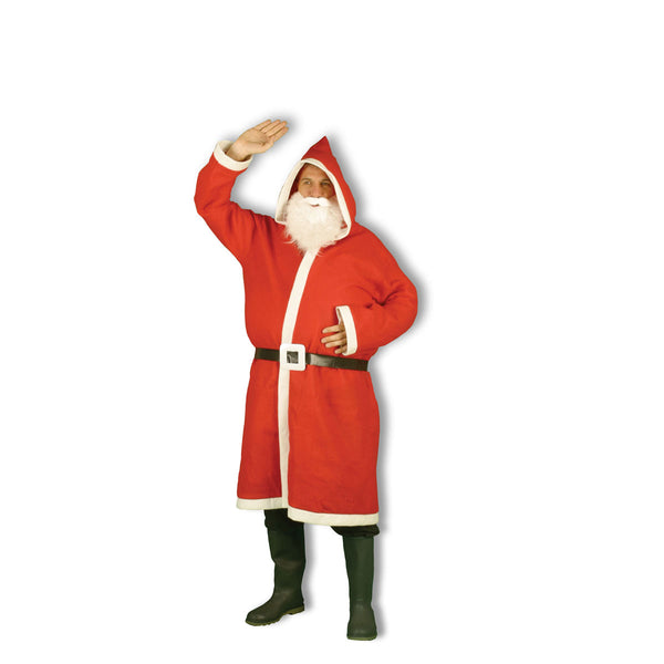 Adult Hooded Santa Claus 3 Pcs Suit Father Costume Unisex Xmas Party Novelty Fancy Dress