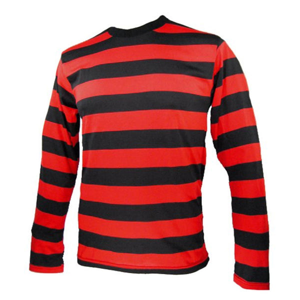 Unisex Red Black Stripe T-Shirt Full Sleeve Top Fancy Dress Halloween Outfit