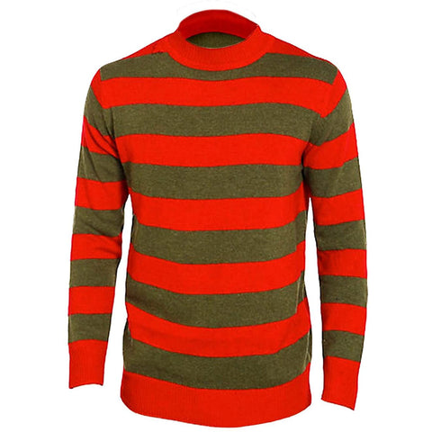 Children Red Green Stripe T-Shirt Full Sleeve Top Fancy Dress Halloween Outfit