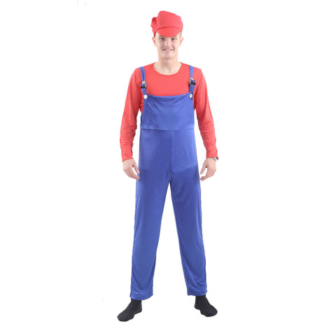 Adult Super Plumber Bro Red/Blue Costume