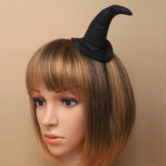 Ladies Black Glitter Witches Hat on Alice band Headband Girls Halloween Headwear