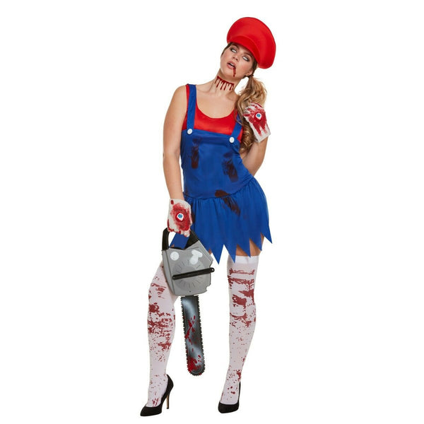 Womens Halloween Workwoman Red Fancy Dress Super Zombie Costume Womens Horror Party Wear Outfit