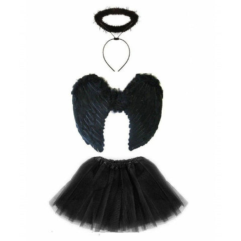 Fallen Angel Adult Black Angel Tutu Costume, Black Tutu with Large Black Angel Wings For Women Dark Angel Demon Costume for Halloween
