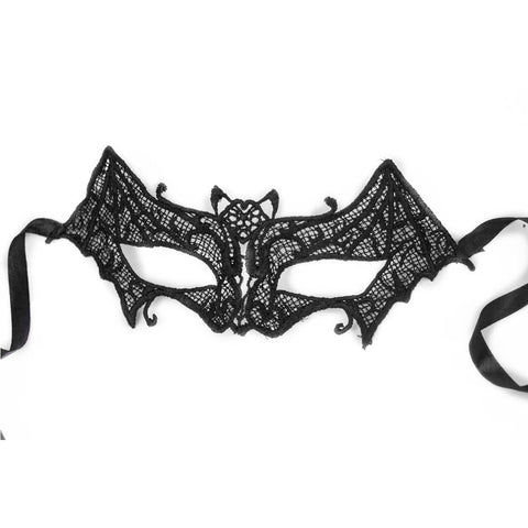 Ladies Sexy Black Stunning Lace Bat Eye Mask Masquerade Gothic Party Fancy Dress Accessory