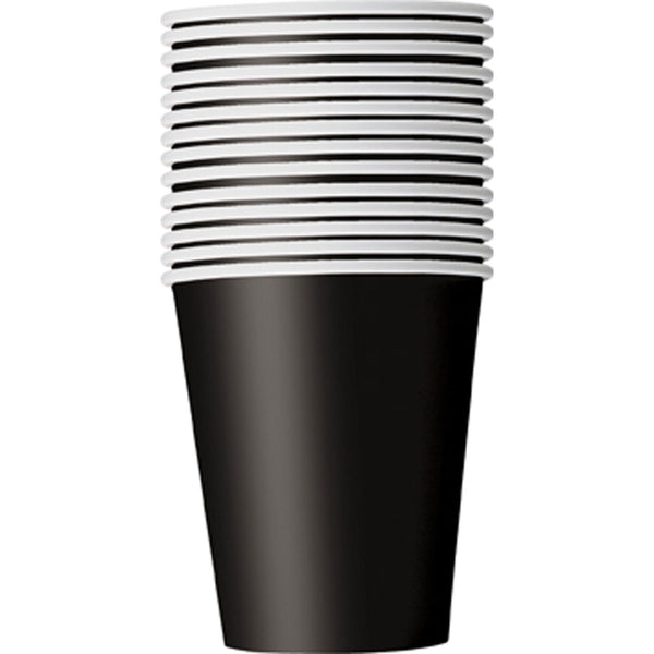 Midnight Black Plain Cups 9 Oz (Pack of 14)
