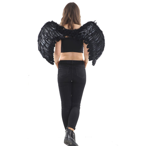 Angel Black Feather Folding Wings Ladies Fairy Fancy Dress Accessory