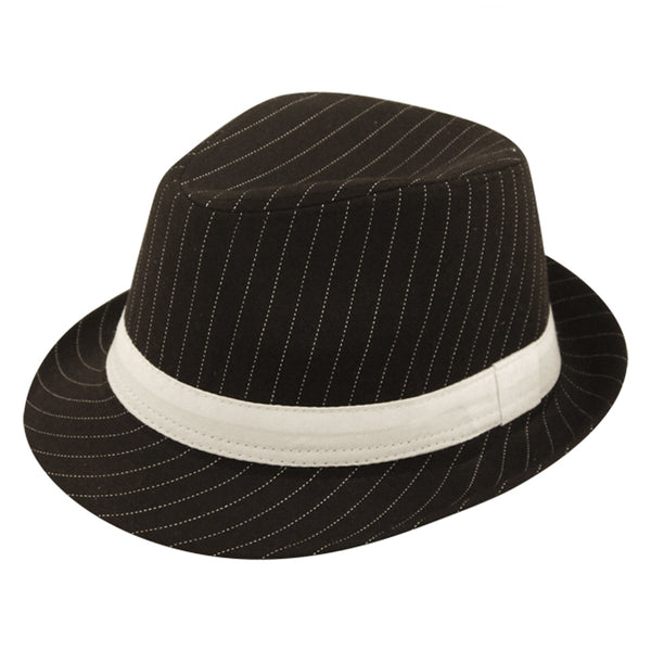 Black With White Stripes 1920s Gangster Trilby Pinstripe Hat Fancy Dress Costume