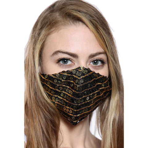 Black Gold Sequin Face Mask With Filter Pocket