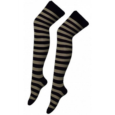 Women Black Grey Stripe Over The Knees Socks
