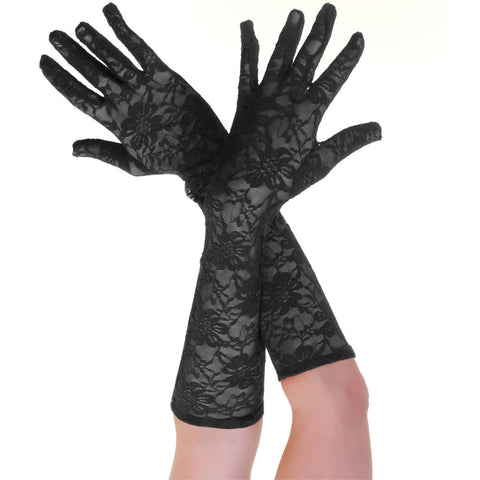 Women's Elegant Long Lace Floral Black Gloves Opera Evening Fancy Dress Wedding Party
