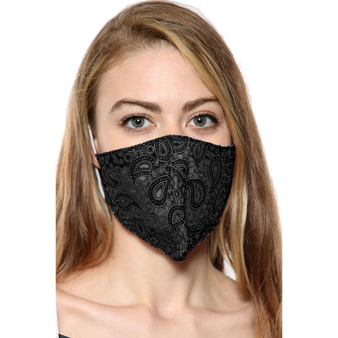 Black Paisley Print Face Mask With Filter Pocket