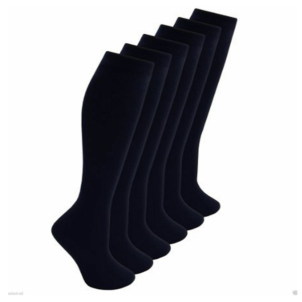 Girls 3 Pairs Value Pack Black Plain Knee High Back 2 School Cotton Rich Socks
