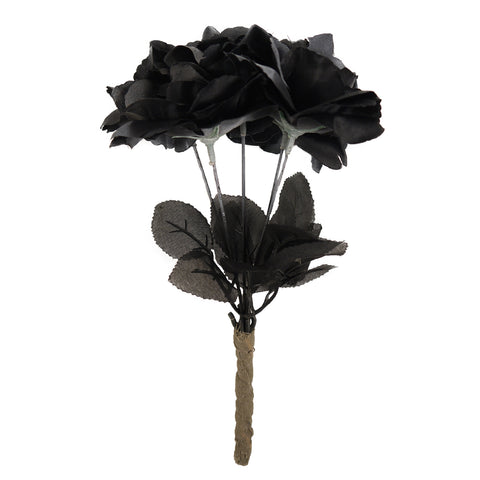 Black Rose Flower Bouquet Ghost Bride Wedding Halloween Fancy Dress