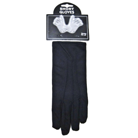 Unisex Short Wrist Black Plain Gloves Opera Evening Fancy Dress Wedding Party