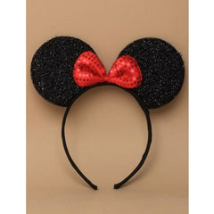 Black Sparkly Mouse Ears Aliceband With Red Sequin Bow Headband