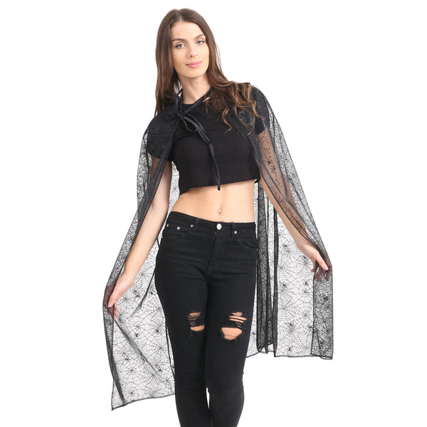 Womens Black Spider Cape Halloween Witch Vampire Fancy Dress Costume