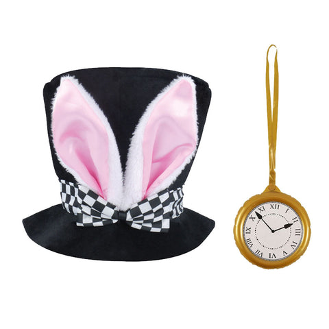 Black Top Hat With Bunny Ears Rabbit Kit Fancy Dress Costume Accessory