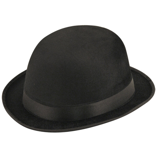 Black Felt Velour Bowler Hat Victorian Fancy Dress Costume Accessory