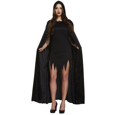 Adult Black Long Velvet Cloak Vampire Dracula Halloween Fancy Dress Cape UK