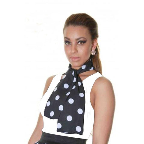 Ladies 1950's Black White Polka Dot 26 Inches Long Skirt Set