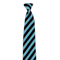 Adult Black & Turquoise Striped Satin Neck Tie