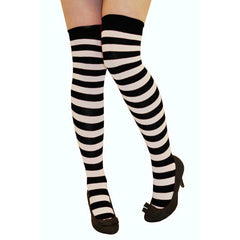 Womens Over The Knees Black & White Stripe Socks