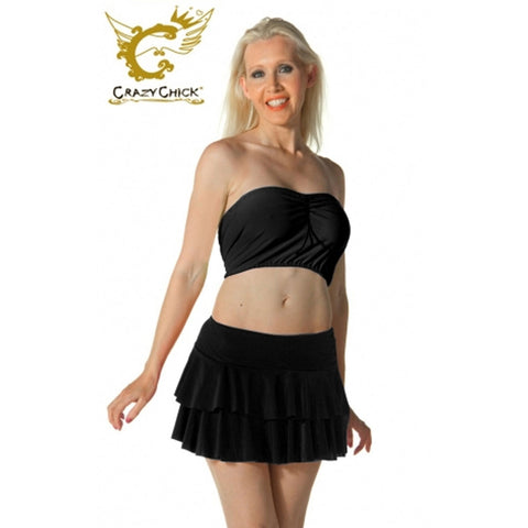 Ladies Women Black RARA Two Tier Frill Gym Dance Neon Mini Skirts Fancy Dress