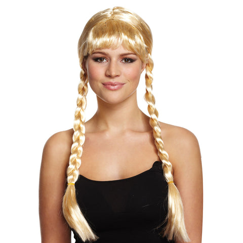 Long Golden Blonde Wig With Plaits For Hen Parties Fancy Dress Accessory