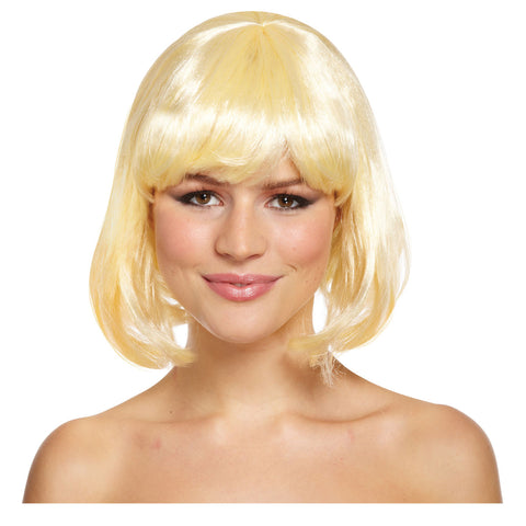 Long Blonde Mid Wig With Plaits For Hen Parties Fancy Dress Accessory