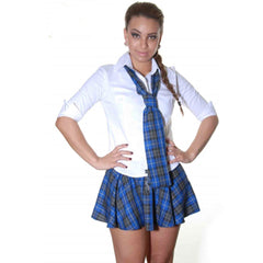 Women Blue Grey Black Tartan Skirt With Bow Pleated Check School Skirts