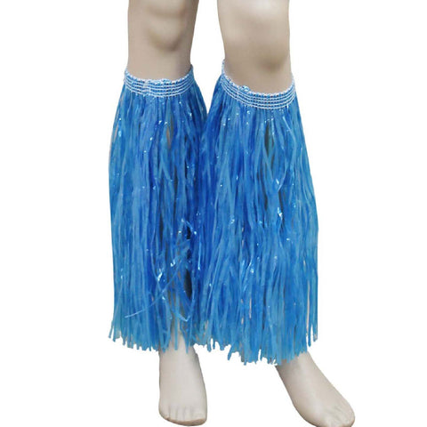 Blue Hula Straw Leg Cuffs Hawaiian Beach Party Accessory