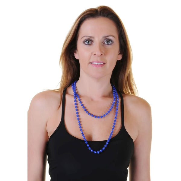 Royal Blue Plastic Bead Necklace Womens Ladies 80's Parties Fancy Dress Costume Accessory
