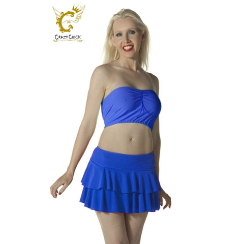 Women Blue RARA Two Tier Frill Mini Skirt